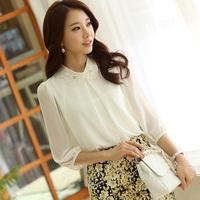 2014 Fashion women shirts OL shirts Fake two shirt Slim Sleeve Chiffon shipped