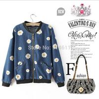 2014 European and American fashion denim printing cowboy coat jeans coat women jackets and coats  autumn coats for women