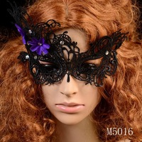 Min. order $10 Fashion New Design 2014 Wholesale Swan Shape Purple Flower Lace Sexy Mask For Prom Party Halloween Masquerade
