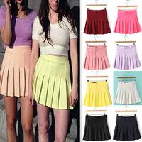 Summer new arrival 2014 brief bust skirt Fashion Women Slim Thin High Waist Wild Pleated Tennis Playful Skirt Mini Dress