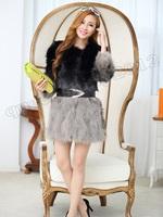 2014 New 100% Real Genuine Raccoon Fur Long Coat Jacket Clothing Fashion Vintage Women Gift Winter Warm