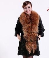 new 2014 winter fashion Casual female clothes women long clothing High quality 100% Rabbit Fur coat + Raccoon Fur collar 6996