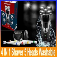 4 in 1 Full-body Water Wash Electric Razor Male 5 Heads Rechargeable waterproof Washable Electric Shaver Razor for Men GS-6218