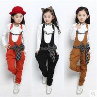 Girls Clothing Sets Dot Bow Belt Children Suit Set Long Sleeve TShirt+Jumpsuit Kids Tracksuit Sportswear for Girls Suit Overalls