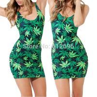 Osaili Ladies New Fashion Maple leaves dress leaf print Women Party dress sexy tight Beach Vest Dress Sundress summer dress