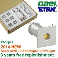 Daei ETRN Brand 2014 new Square 1W x 6pcs 6W MINI LED Downlights LED Cabinet Light LED Boutique Lighting Free Shipping