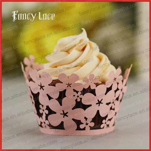 100PCS Elegant Flower Wreath Laser Cut Wedding Cake Decorations,Birthday Party Cake Paper Wrappers Birthday Favors(China (Mainland))