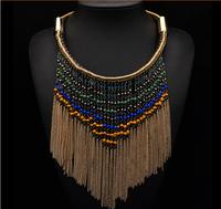 2014 New Arrival za Fashion Brand Big Statement Tassel Choker Collar Necklace For Women Luxury Mental Necklace 9184