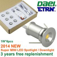 ETRN Brand 2014 new 1W x 6pcs 6W  MINI LED Downlights LED Cabinet Light LED Spot lights Jewelry Lighting TM01Y-1W6 Free Shipping