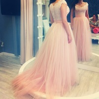 2014 New Arrival High Quality Pink A Line Cap Sleeves Lace Soft Tulle Long Prom Dress Women Gown Free Shipping WH472