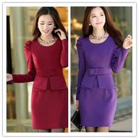 M,L,XL,XXL spring new Women Korean package hip Slim Long Sleeve Knit A word bottoming OL dress child Winter dress