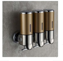 Free shipping Wholesale And Retail Promotion NEW Bathroom Wall Mounted Touch Soap 3 Box Liquid Shampoo Bottle Soap Dispenser(China (Mainland))