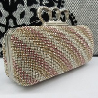 SUKI highness women mixed color full strass evening bag finger ring hard handbags pink rhinestone clutch purse