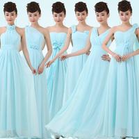2014 New Cheap Sky Blue Azure Long Chiffon Bridesmaid Dresses under $ 50 Prom Wedding Party Dress