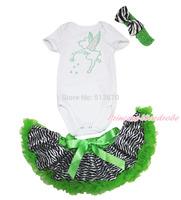 Rhinestone Tinkerbell White Jumpsuit Newborn Baby Girl Zebra Pettiskirt NB-12M JS3348
