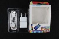 2 in 1 Goods:500pc Dual Port USB EU Charger Adapter+500pc 1M White Circle Cable For Samsung Galaxy Note3 With Fancy Pack