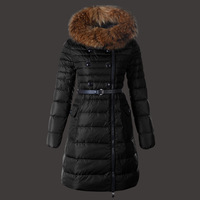 2014 winter New white goose down thickening long design down coat female with fur collar warm wadded jacket free shipping