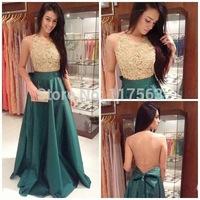 2014 New Design Vestidos De Fiesta Open Nude Back Dark Green Long Evening Dress Women Gown With Bow Free Shipping WL236