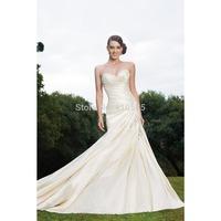 Mermaid Sweetheart Taffeta Long Wedding Dress With Beading HWGJMWD8