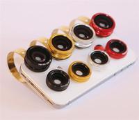 Metal Circle Clip 3 in 1 Mobile Phone Lens Universal  Fish Eye Wide Angle Macro Fisheye For Iphone 4 5 Samsung HTC
