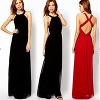 New Fashion 2014 Women Evening Party Dress Elegant Long Red Dress Sexy Backless Cross Maxi Chiffon Dress Femininos Vestidos 2467