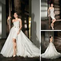 AWL30347 Detachable Strapless One-Shoulder Tulle Beaded White Short Front Long Back Wedding Dress 2014 Custom Size Custom Color