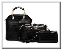 New 2014 Products Hot Sell New Women Handbag Fashion Brief Crocodile Pattern Shoulder Bags Three Separate Set AK363
