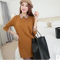 free shipping !  female long sleeve loose T shirt Women's autumn plus size clothing XXXL girl's turn down collar tops