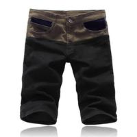 Free shipping 2014 Summer Men's Fashion Jeans Shorts thin denim shorts men's COTTON jeans straight knee-length patchwork short