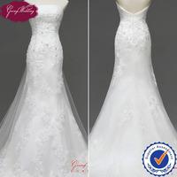 Free Shipping Goingwedding Beaded Lace Low Back Mermaid Wedding Dress Detachable Train NW0724