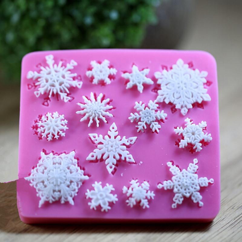 Free Shipping Snow Snowflake Shape Fondant Soap Sugar Craft Cake Decorating Silicone Mold 1PC(China (Mainland))