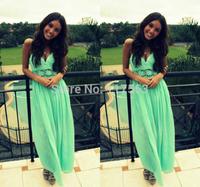 2014 New Design Vestidos De Fiesta Mint Green Long Chiffon Evening Dress Women Gown Free Shipping WL238