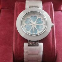 New Luxury Brand White Ceramic Flower Watch Women Dress Colorful CZ Diamond Wristwatches Christmas gifts