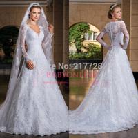 Custom Made Vestido De Noiva 2014 Fashionable A-Line See Through Back Lace Long Sleeve Wedding Dresses Vestidos De Noiva