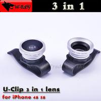 Universal U-CLIP 0.67X Wide-Angel+Macro+Fisheye 3 in 1 lens for iPhone 4s 5s 5 5c iPad 2 3 Mini,10 pcs/lot mobile phone lens