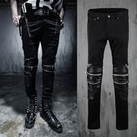 Free shipping! New men fight skin dark punk hair stylist decorative zipper Heavy jeans