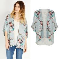 Top Quality Vintage Women Kimono Floral sweaters Bird Print cardigans Open Front Loose Blouse Cape roupas femininas