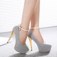2014 high-heeled platform shoes sexy ultra high heels round toe thin heels rhinestone pendant women's shoes autumn