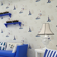 Wallpapers Limited Printed The New 2014 Mediterranean Sailing Non-woven Wallpaper Boy Children Room Bedroom Full Papel De Parede