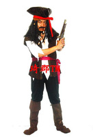 Hot sell 2014 Hallowmas costume COSPLAY fancy ball Pirates of the Caribbean Pirate captain jack cloth