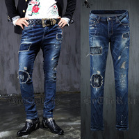 Free shipping! New men's street washing hair stylist hole patch do old jeans