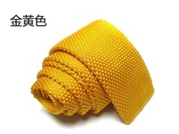 Hot yellow Fashion Men's Colourful  Narrow Slim Skinny Woven Tie Knit Knitted Tie Necktie