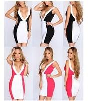 Fashion color matching color belt  deep V mini