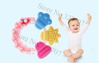 Hot Hand Shake Bell Ring Baby Teether Flower Shape Baby Teether Gum Massage Teething Rings Toys Round Flower Bead Teether