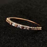 Allencoco simple design women Shinning jewelry/three zircon 18k gold plated rings WL0687