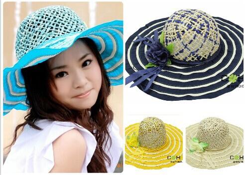 Free shipping big flower women paper straw hat caps petty suncreen beach travel sombrero straw hat wholesale free shipping(China (Mainland))
