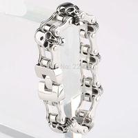 "Stainless Steel Men Skull Biker Motorcycle Chain Bracelet Bangle Harley Primary Jewelry 8.4""*23mm"