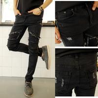 Free shipping! New men's fashion street sense broken copper zipper decoration black jeans