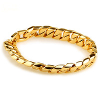 Classics Style Mens Pop Gold Charm Curb Link Fashion Bracelet Bangle Stainless STeel New Arrived