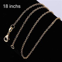 Free Shipping, 18k Gold jewelry Beautiful fashion jewelry 1mm Fine chains c003